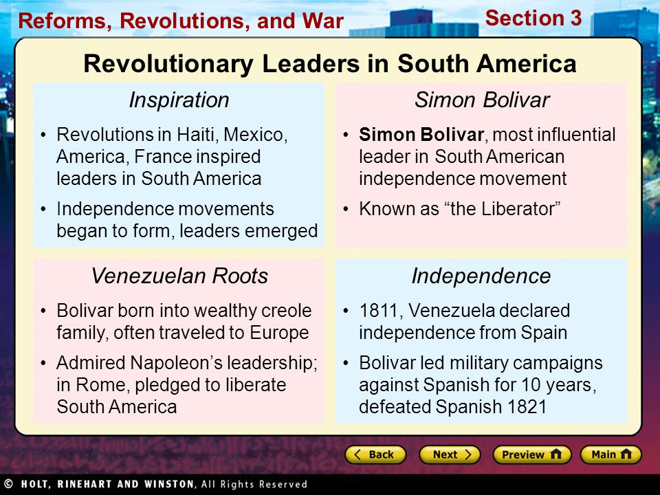 Revolutionary Leaders in South America