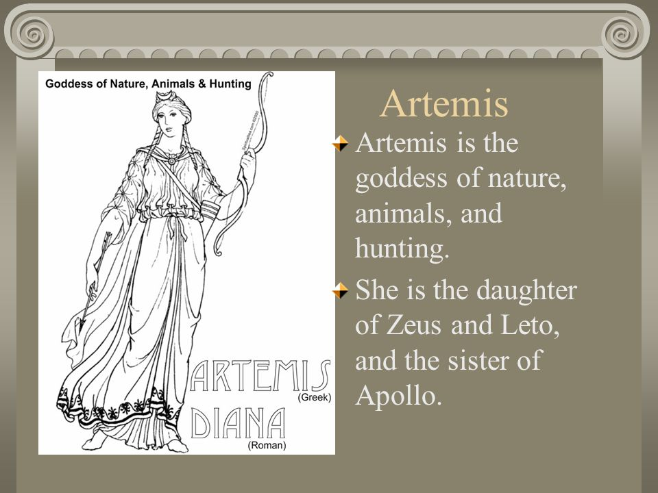 Artemis Artemis is the goddess of nature, animals, and hunting.
