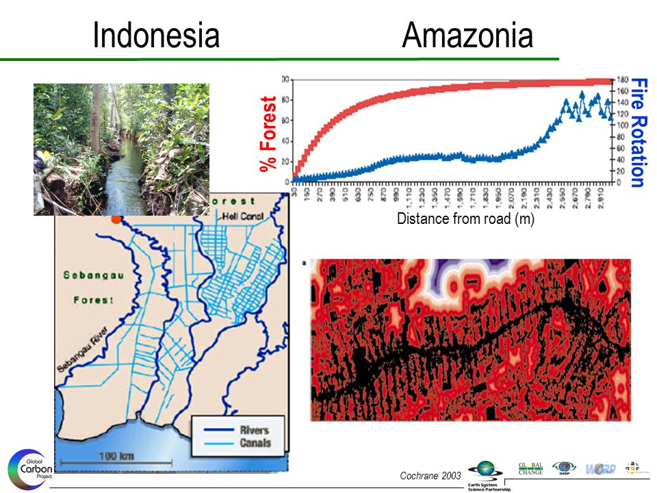 Indonesia Amazonia Fire Rotation % Forest Distance from road (m)
