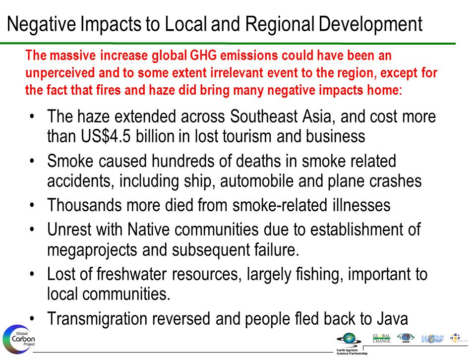 Negative Impacts to Local and Regional Development