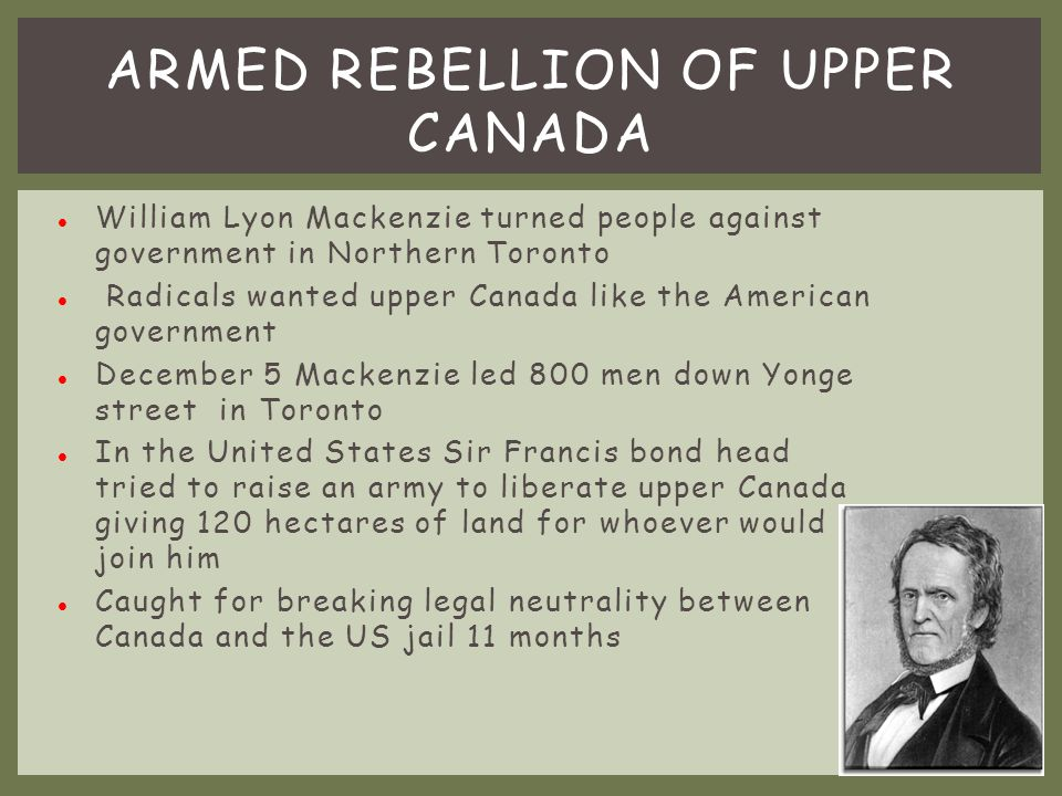 Armed Rebellion of Upper Canada