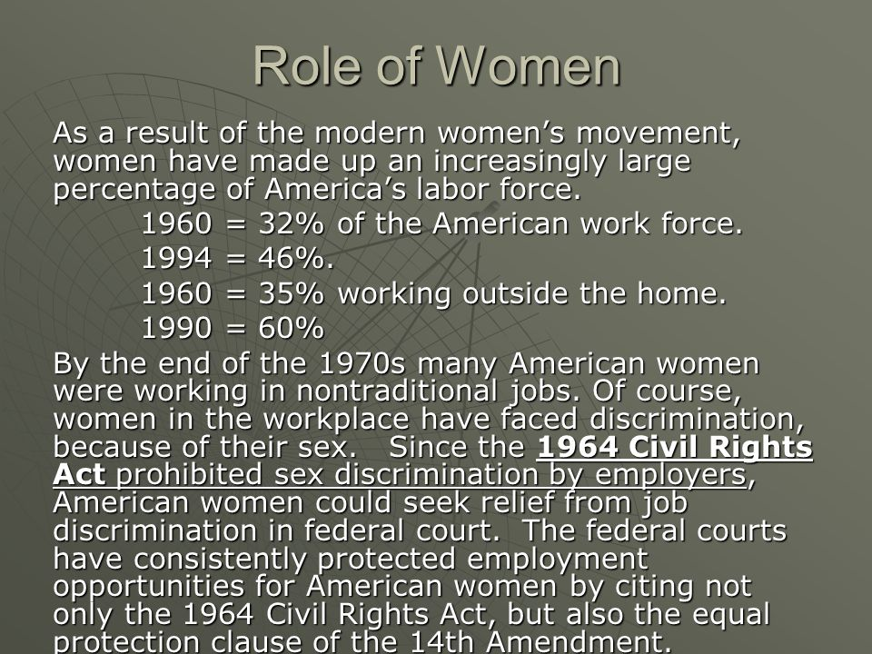 Role of Women As a result of the modern women's movement, women have made up an increasingly large percentage of America's labor force.