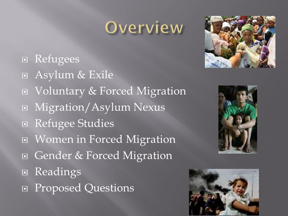 Overview Refugees Asylum & Exile Voluntary & Forced Migration