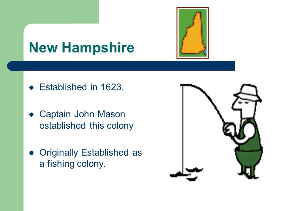 New Hampshire Established in 1623.