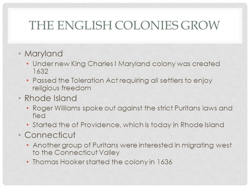 The English Colonies Grow