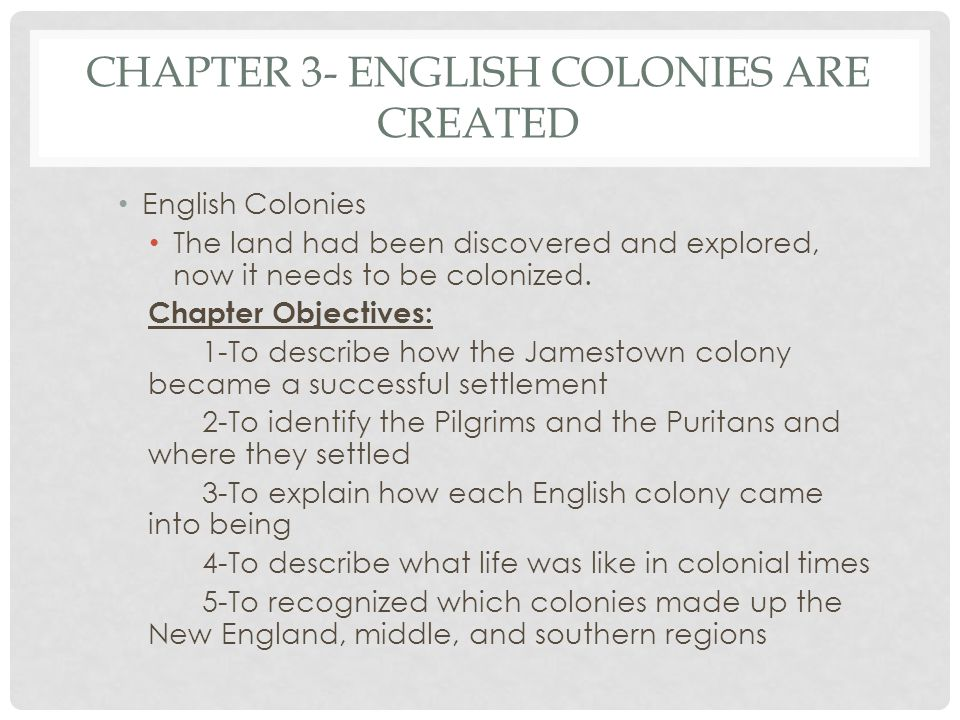 Chapter 3- English Colonies are Created