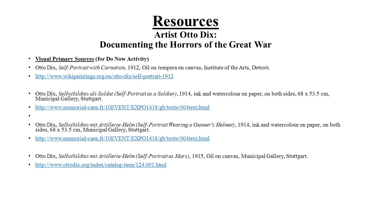Resources Artist Otto Dix: Documenting the Horrors of the Great War