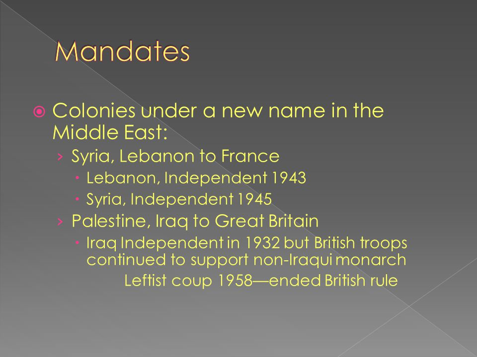 Mandates Colonies under a new name in the Middle East: