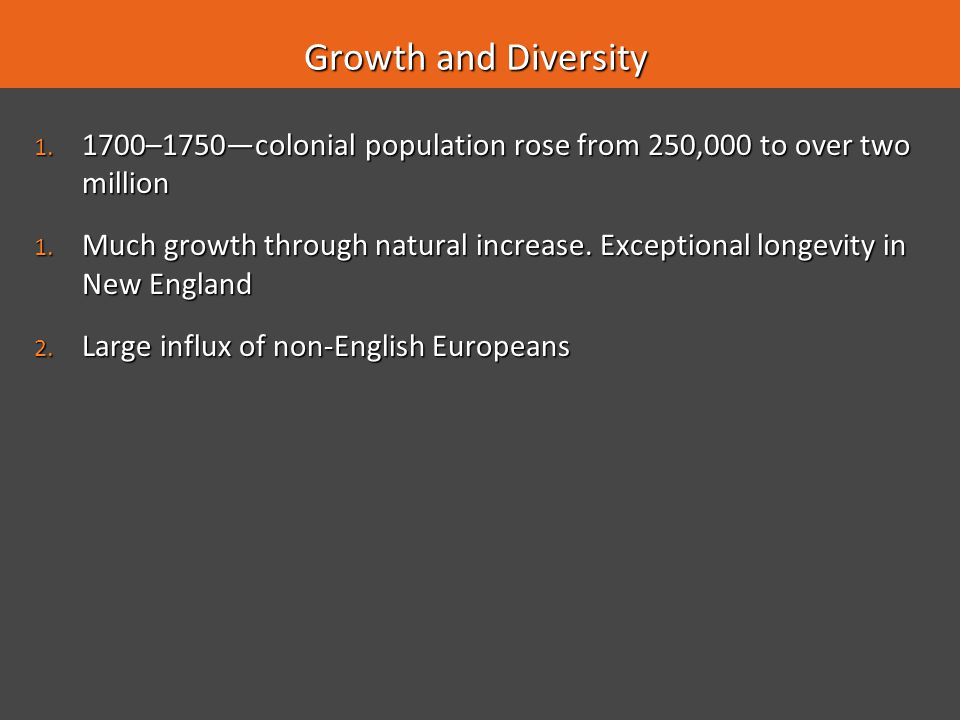 Growth and Diversity 1700–1750—colonial population rose from 250,000 to over two million.