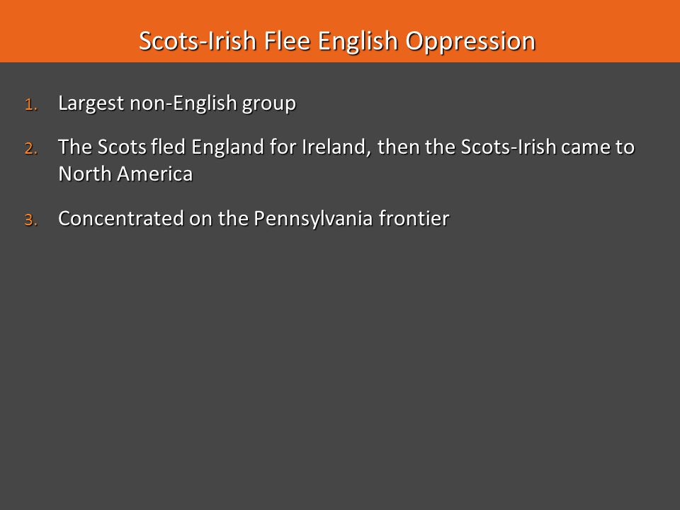 Scots-Irish Flee English Oppression