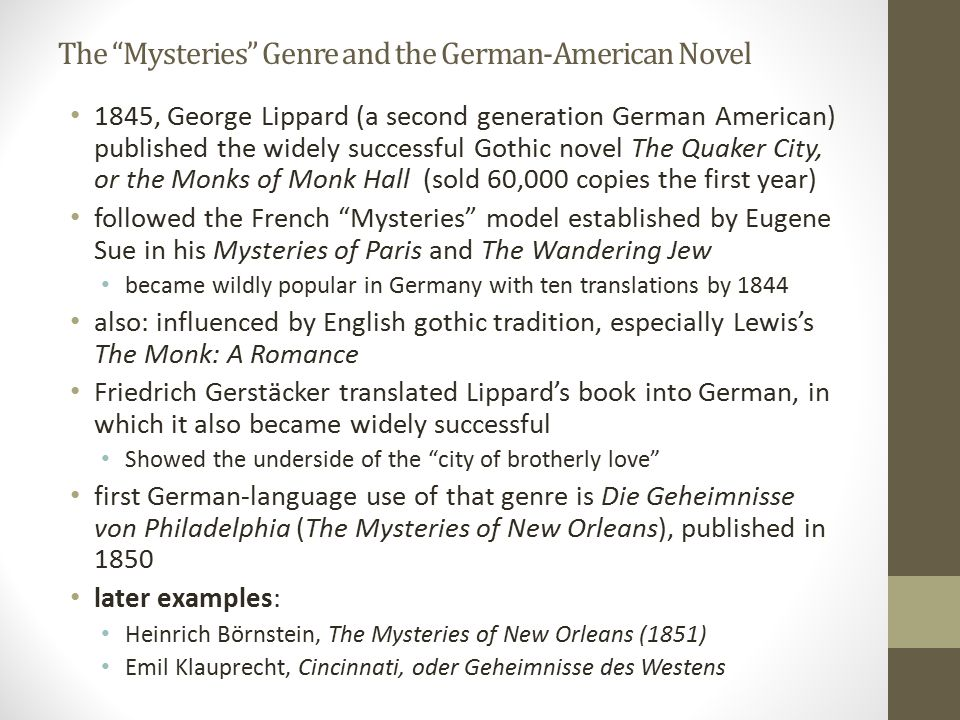 The Mysteries Genre and the German-American Novel