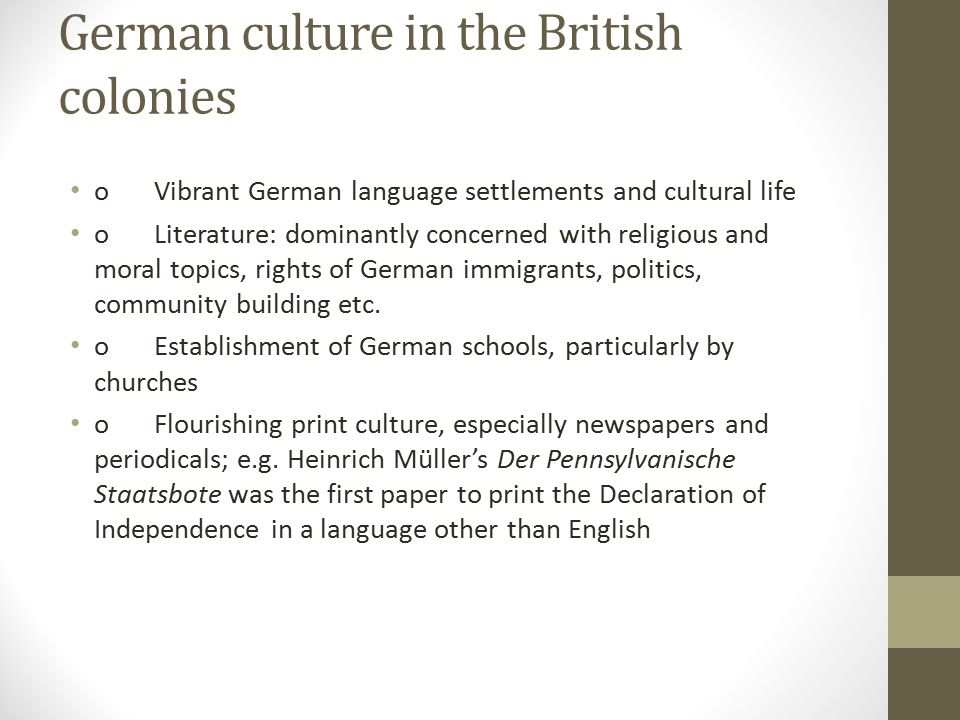 German culture in the British colonies