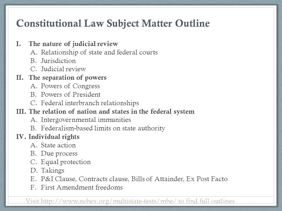 Constitutional Law Subject Matter Outline