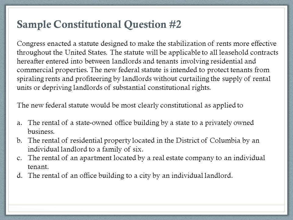 Sample Constitutional Question #2