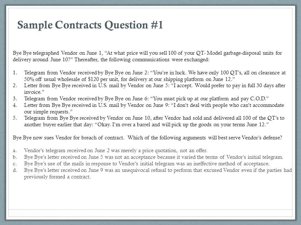 Sample Contracts Question #1