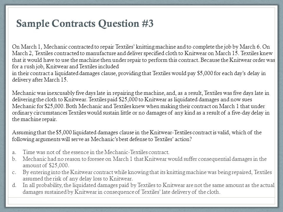 Sample Contracts Question #3