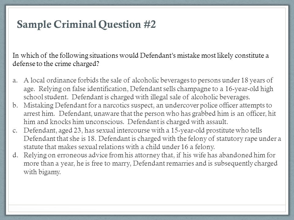 Sample Criminal Question #2