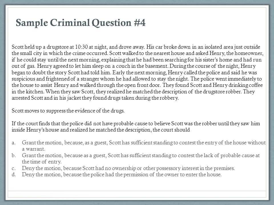Sample Criminal Question #4