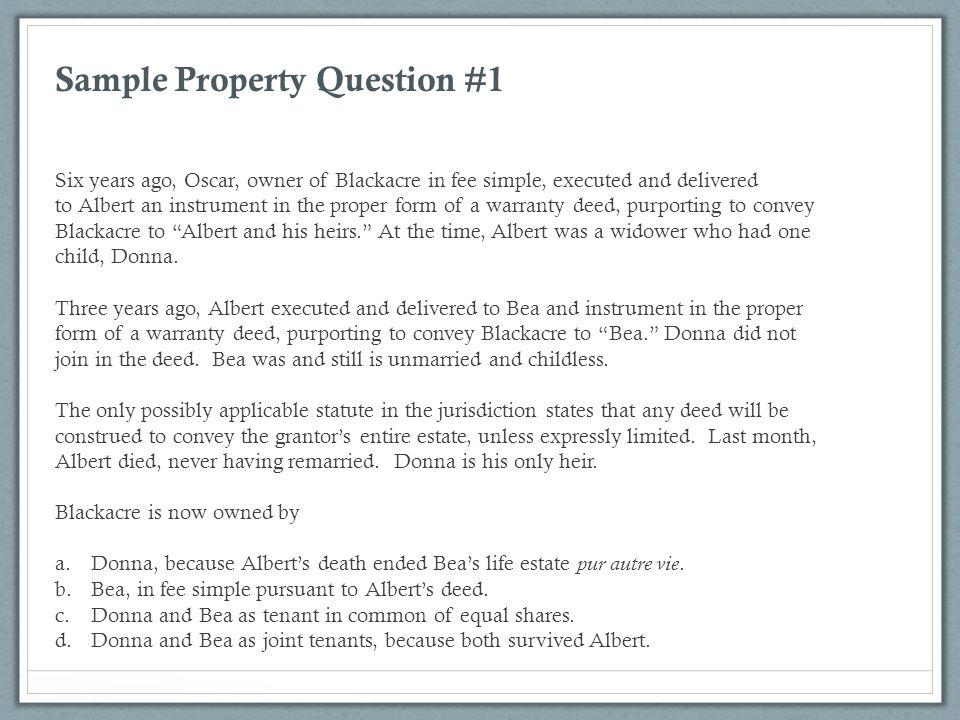 Sample Property Question #1