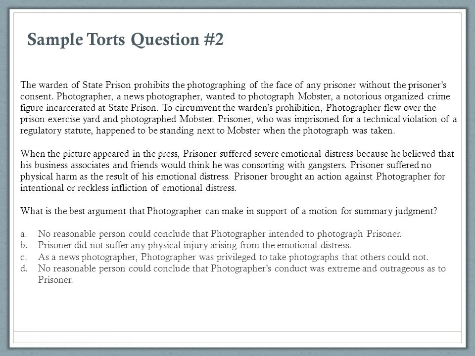 Sample Torts Question #2