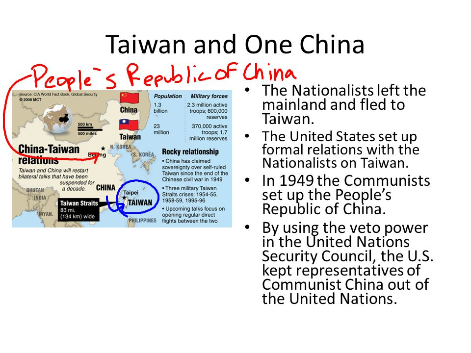 Taiwan and One China The Nationalists left the mainland and fled to Taiwan.