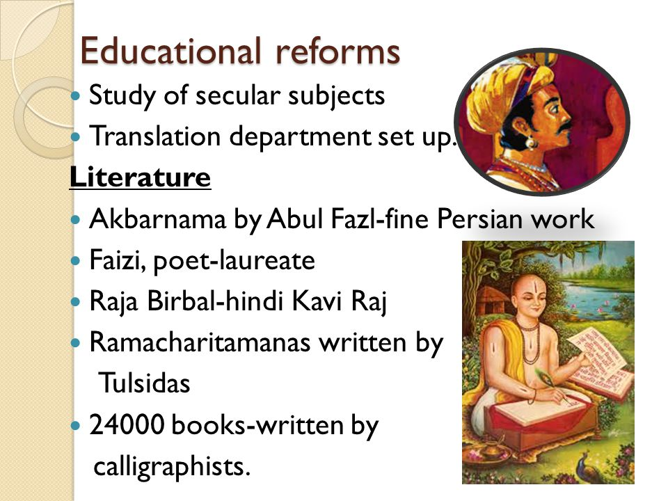 Educational reforms Study of secular subjects