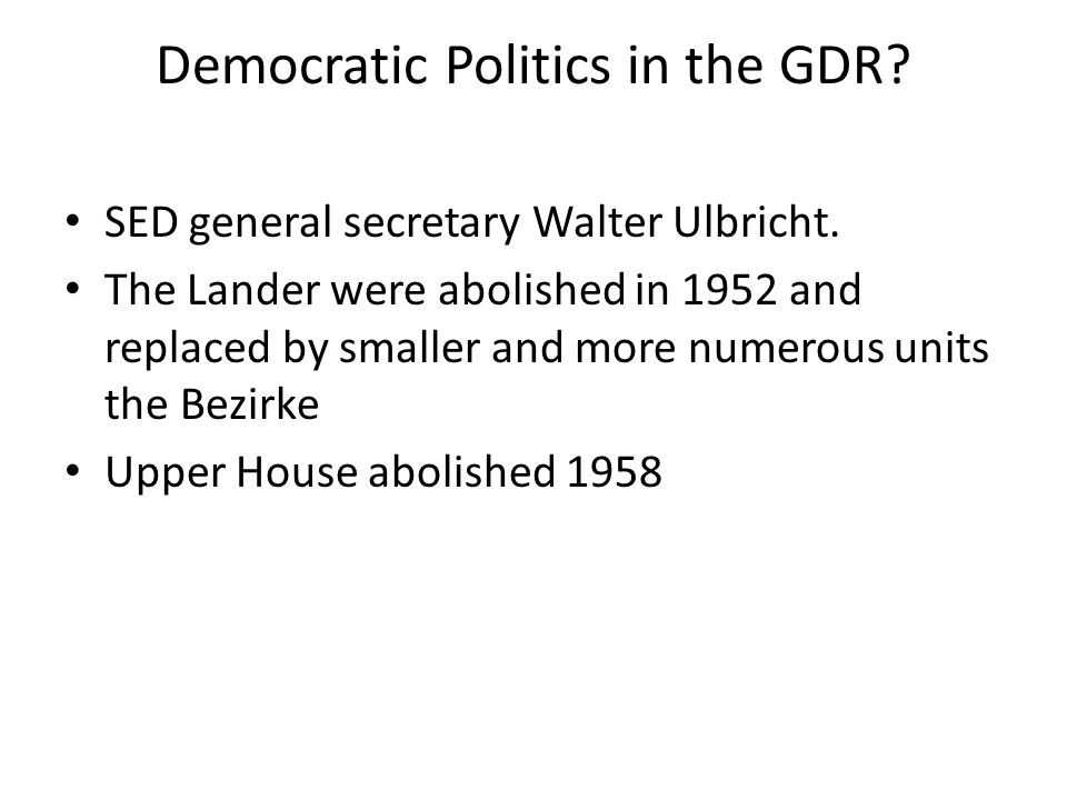 Democratic Politics in the GDR