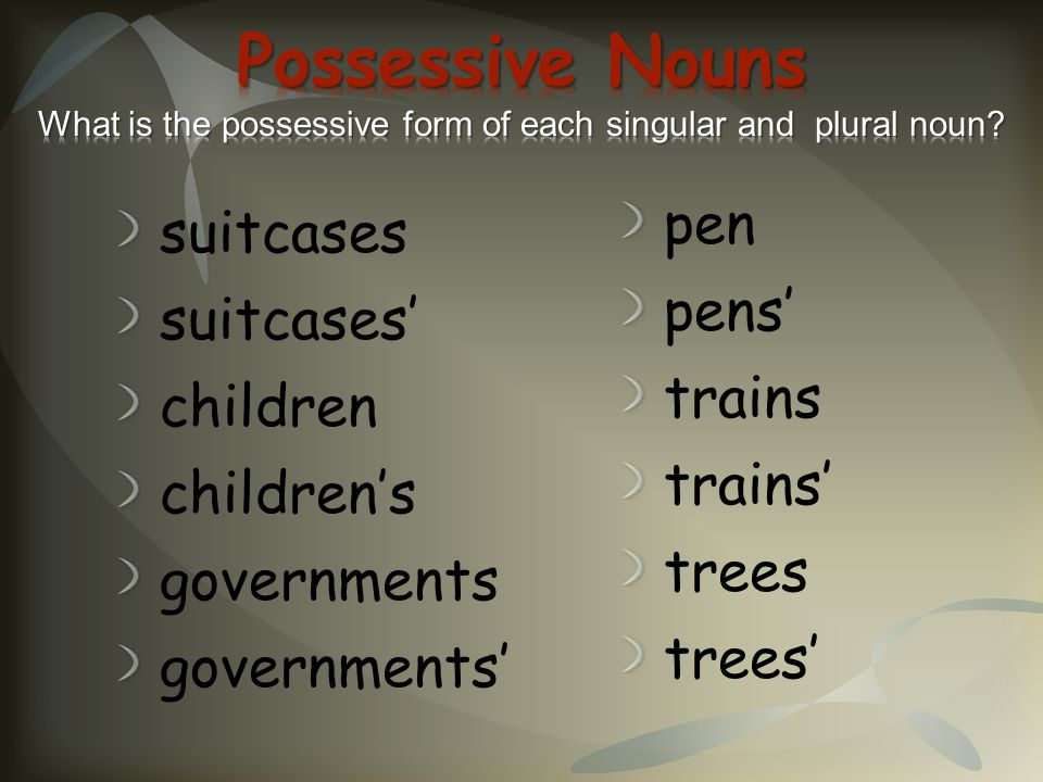 Possessive Nouns What is the possessive form of each singular and plural noun