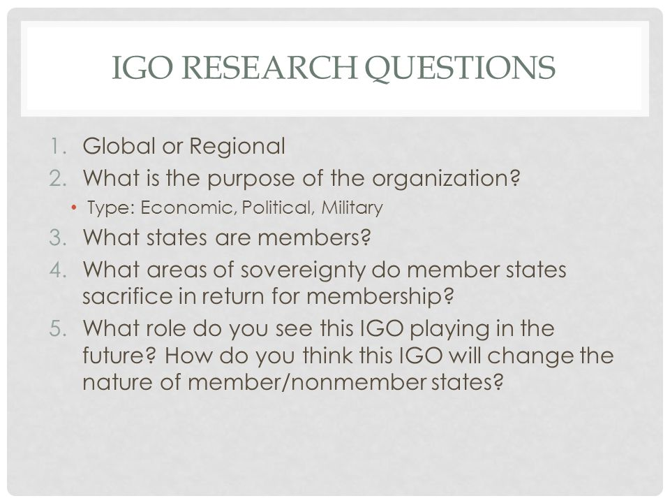 IGO Research Questions