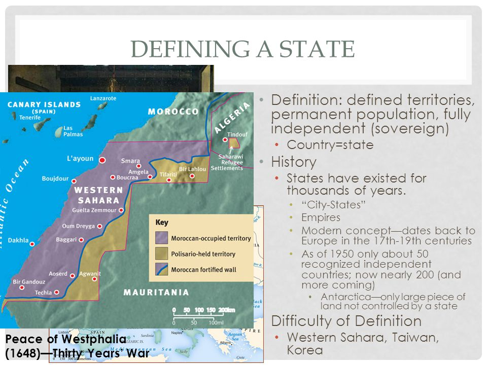 Defining a State Definition: defined territories, permanent population, fully independent (sovereign)