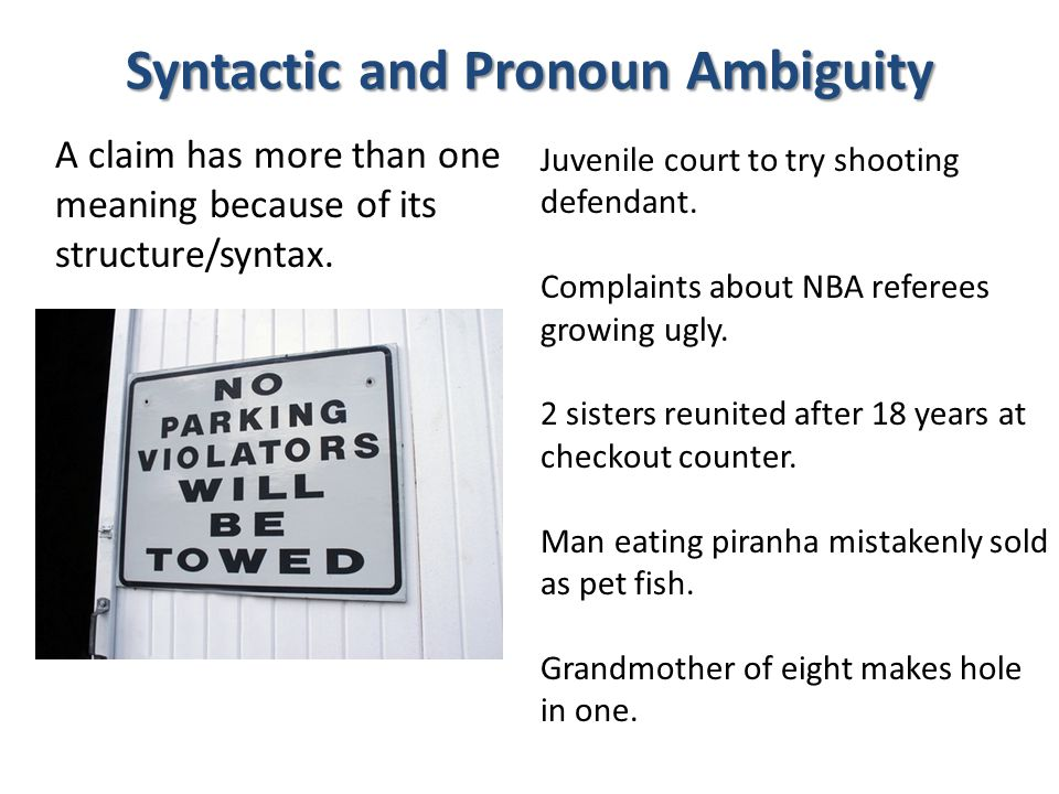 Syntactic and Pronoun Ambiguity