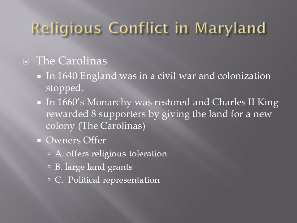 Religious Conflict in Maryland