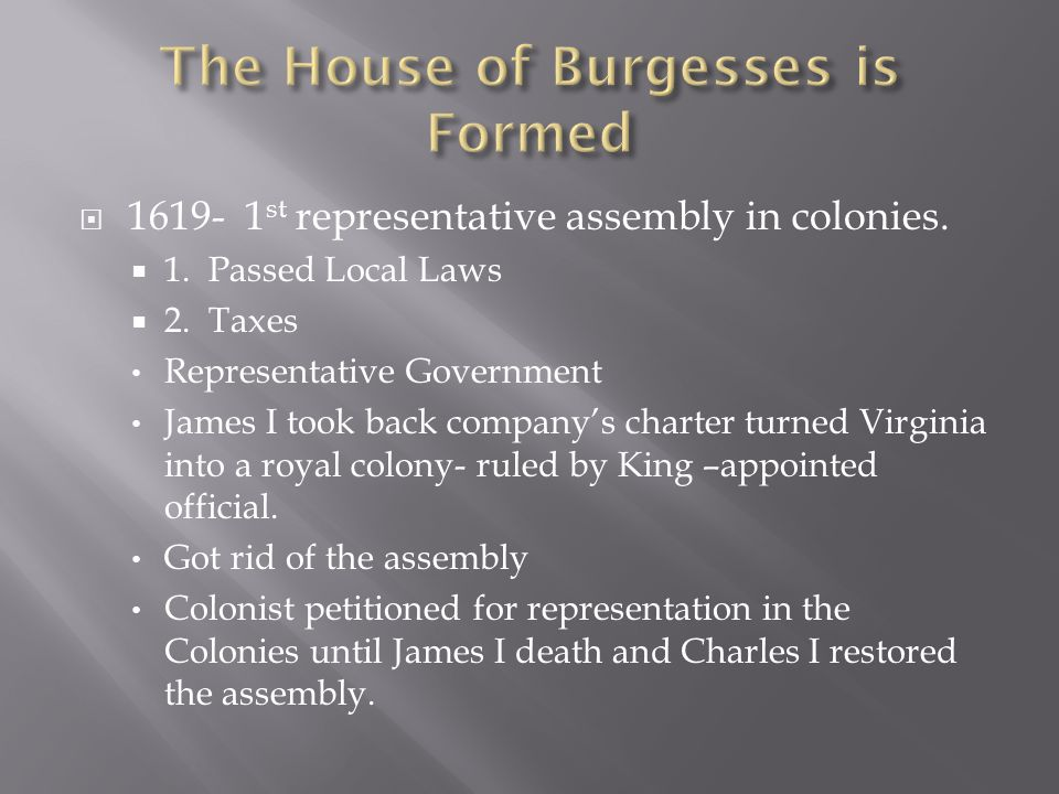 The House of Burgesses is Formed