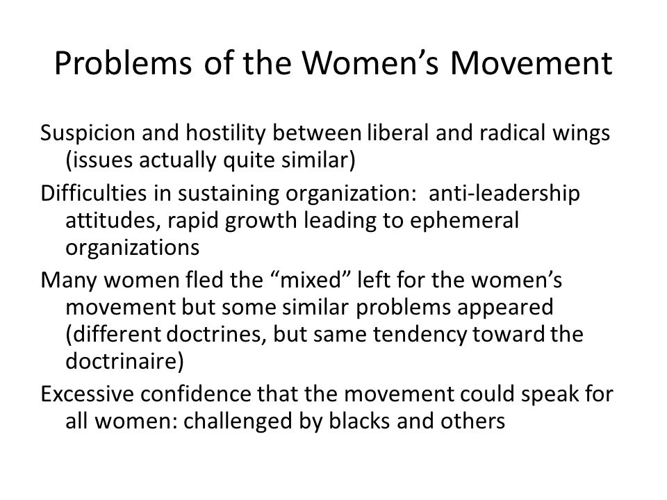 Problems of the Women's Movement