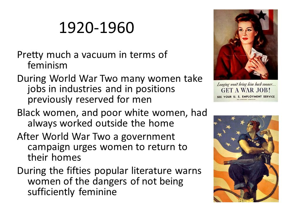 1920-1960 Pretty much a vacuum in terms of feminism