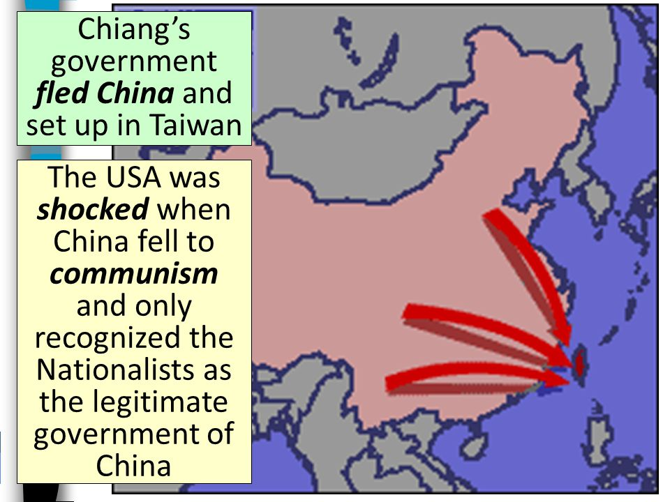 Chiang's government fled China and set up in Taiwan