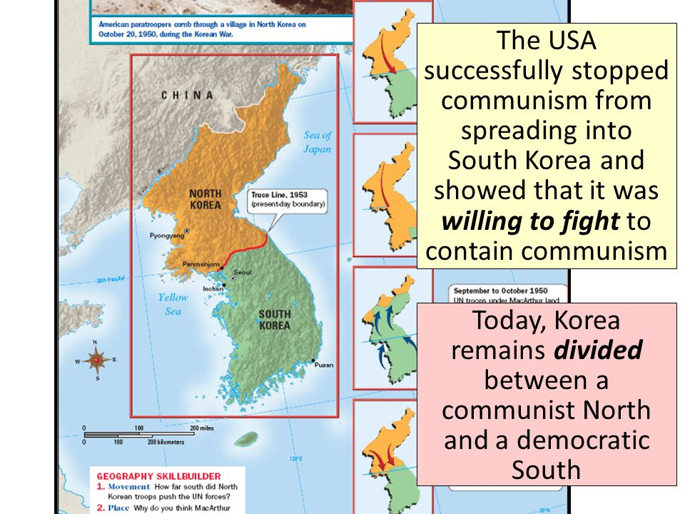 The USA successfully stopped communism from spreading into South Korea and showed that it was willing to fight to contain communism