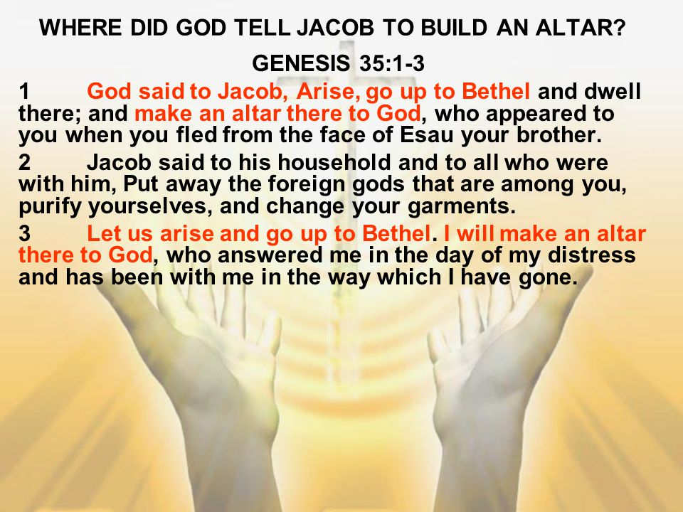 WHERE DID GOD TELL JACOB TO BUILD AN ALTAR