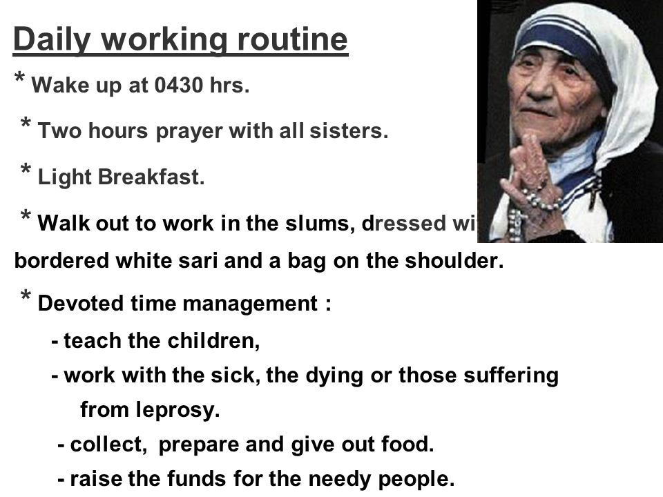 Daily working routine