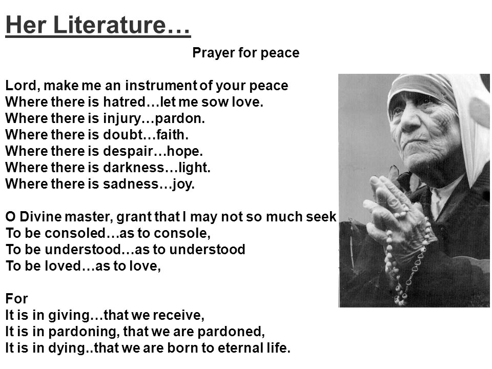 Her Literature… Prayer for peace