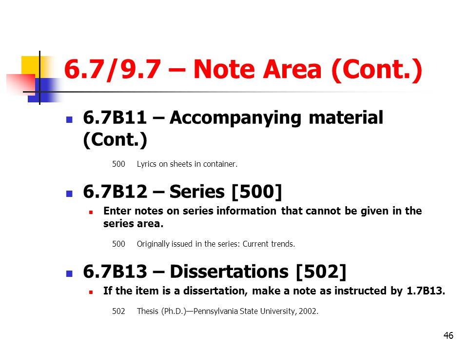 6.7/9.7 – Note Area (Cont.) 6.7B11 – Accompanying material (Cont.)