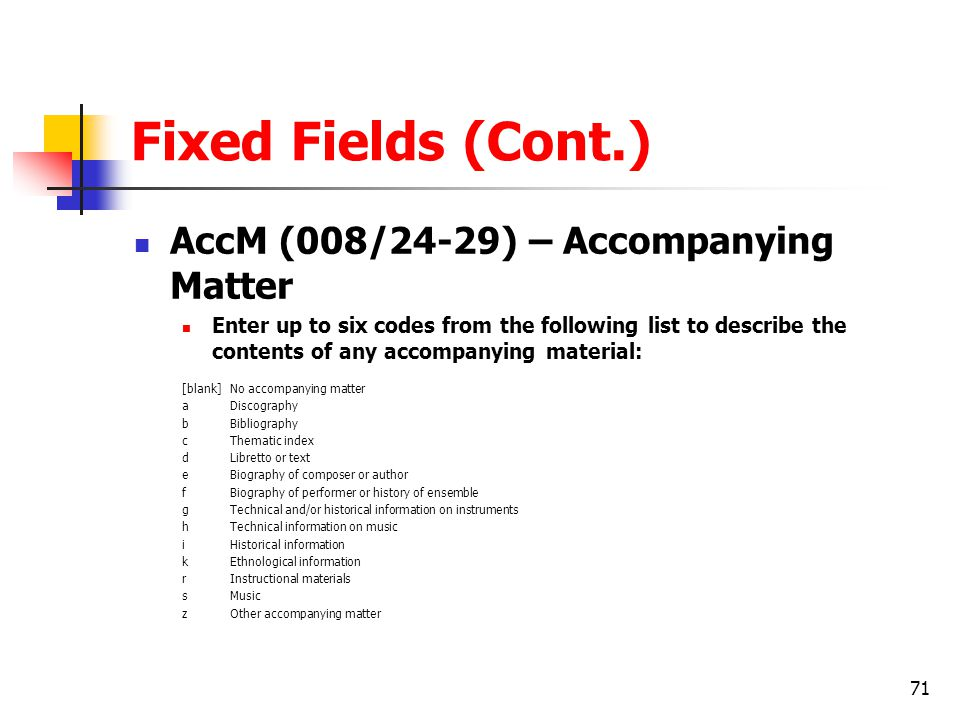 Fixed Fields (Cont.) AccM (008/24-29) – Accompanying Matter