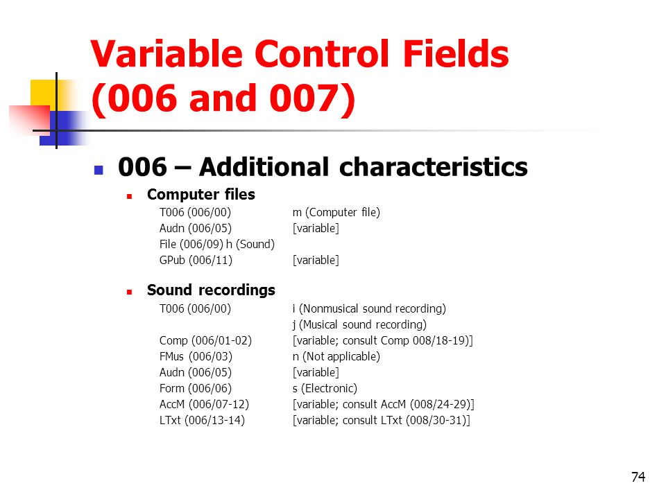 Variable Control Fields (006 and 007)