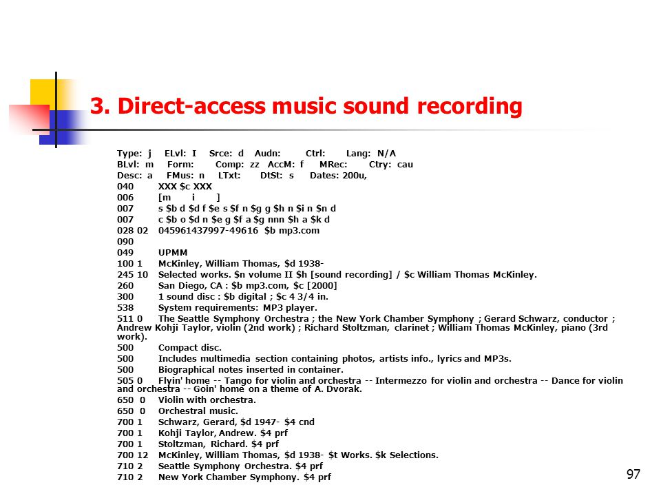 3. Direct-access music sound recording