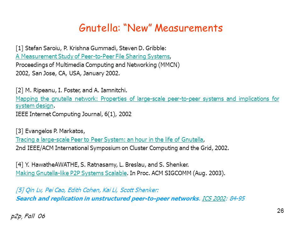Gnutella: New Measurements