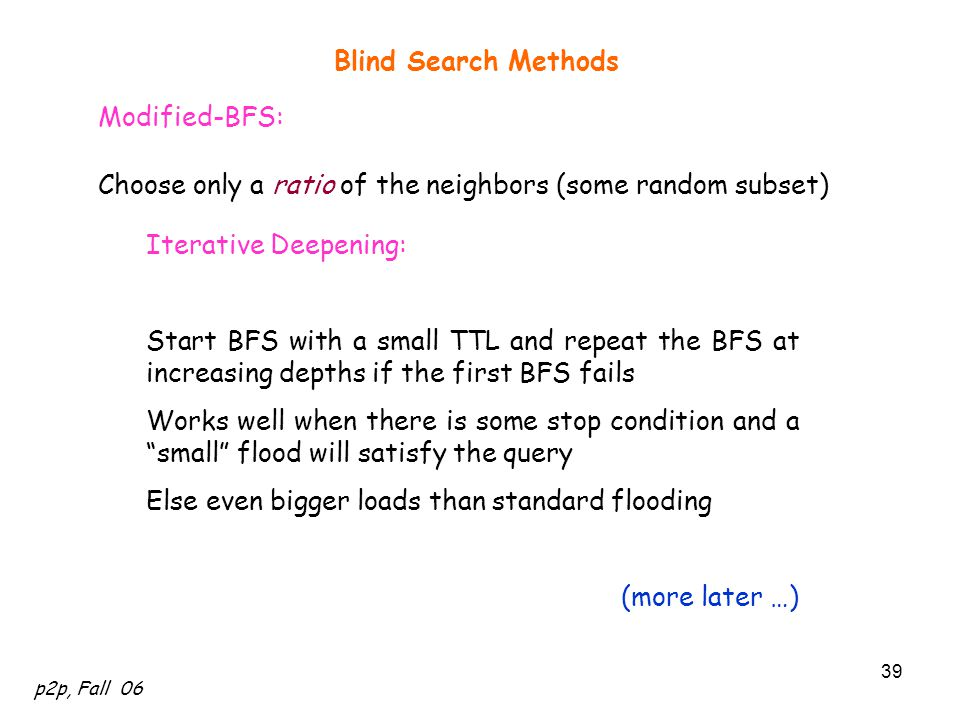 Blind Search Methods Modified-BFS: Choose only a ratio of the neighbors (some random subset) Iterative Deepening: