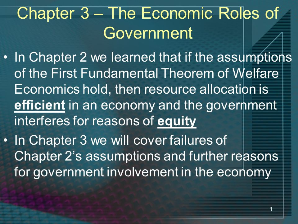 Chapter 3 – The Economic Roles of Government