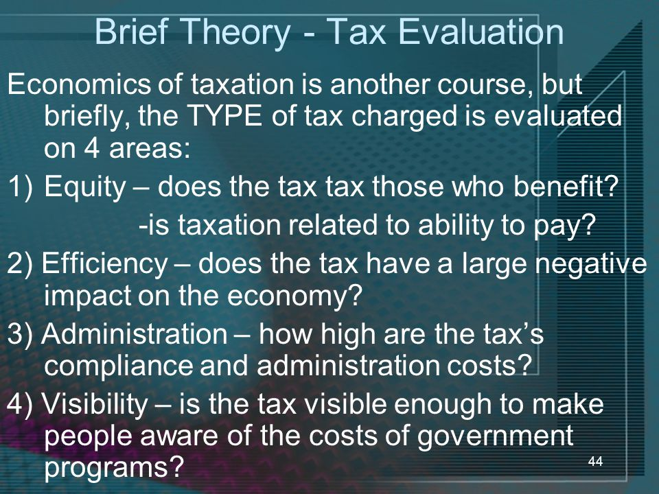 Brief Theory - Tax Evaluation