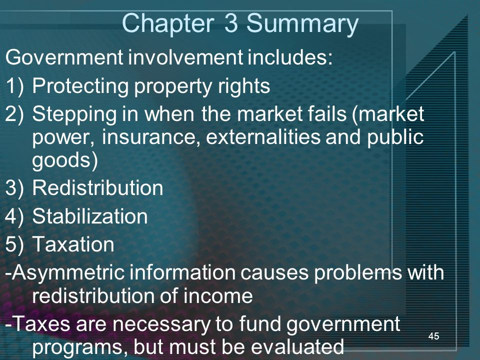 Chapter 3 Summary Government involvement includes: