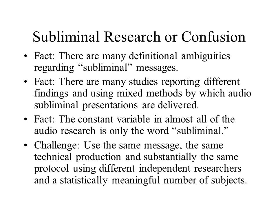 Subliminal Research or Confusion